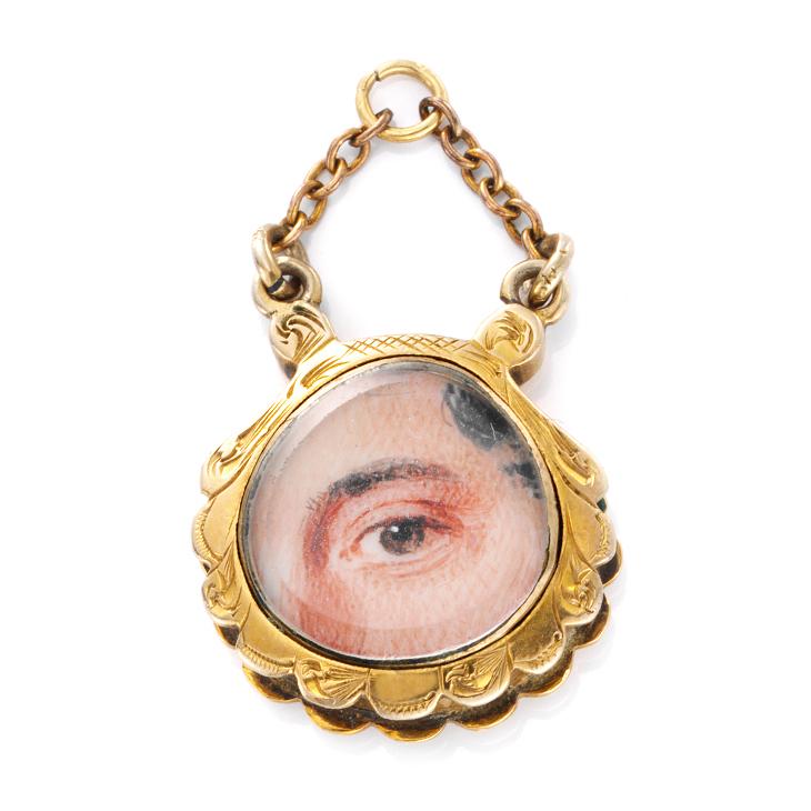 A Gold and Enamel 'Lover's Eye' Pendant, circa 1830