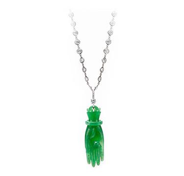 A Jade and Diamond 'Hand of Buddha' Pendant