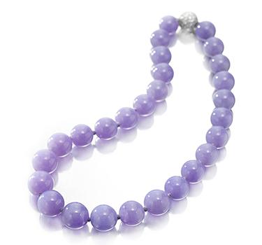 A Single Strand Of Lavender Jade Beads