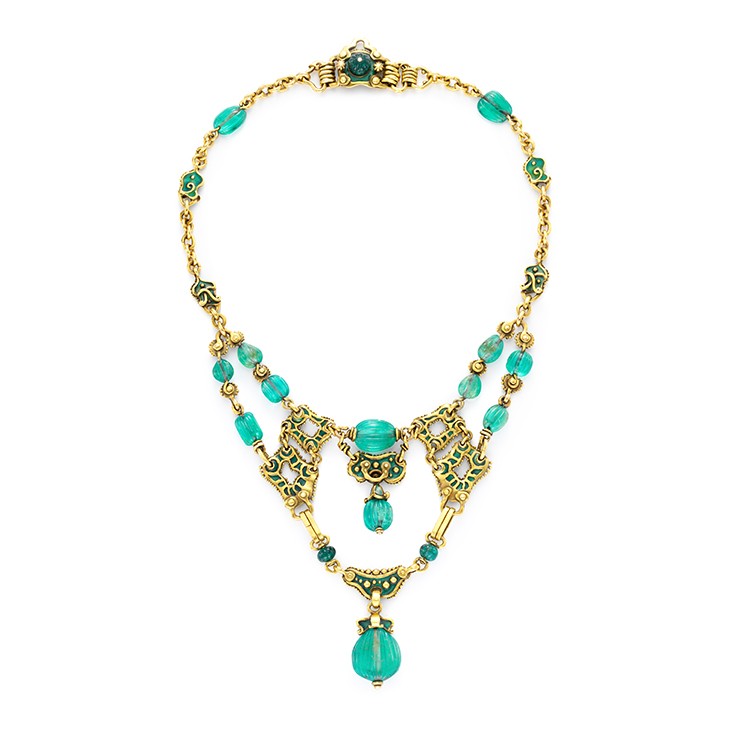 An Antique Emerald, Enamel and Gold Necklace, by Marcus & Co., circa 1900