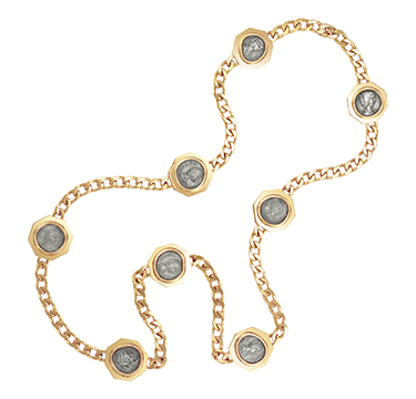 An Ancient Coin and Gold Long Chain, by Bulgari