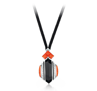 An Art Deco Onyx, Coral And Diamond Pendant, By Rene Boivin