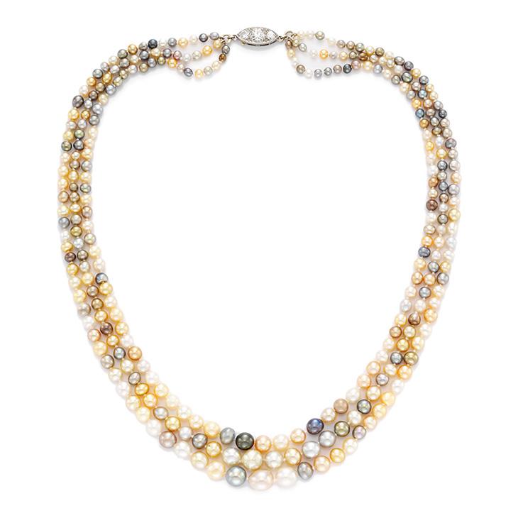 A Three Strand Multi-colored Natural Pearl Necklace