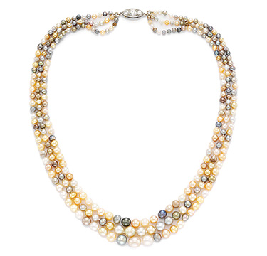 A Three Strand Multi-colored Natural Pearl Necklace