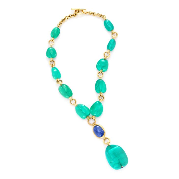 An Emerald and Sapphire 'Y' Necklace, by Verdura