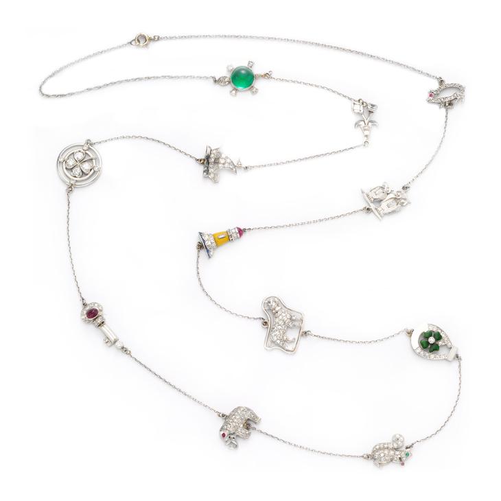 A Multi-gem, Enamel and Diamond Charm Necklace