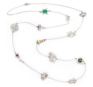 A Multi-gem, Enamel And Diamond Charm Necklace