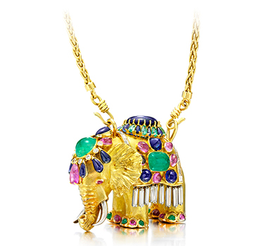 A Multi-gem And Gold Elephant Pendant, By Boivin, Circa 1940
