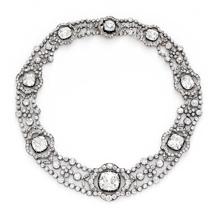 An Antique Diamond and Silver-topped Gold Necklace, circa 1870