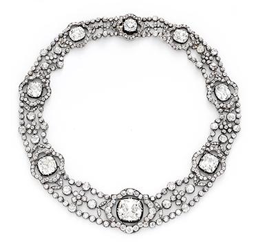 An Antique Diamond and Silver-topped Gold Necklace, circa 1870