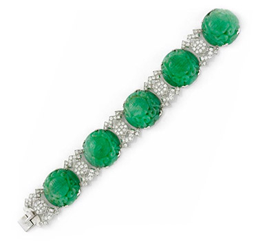 An Art Deco Carved Jade And Diamond Bracelet, By Janesich, Circa 1920