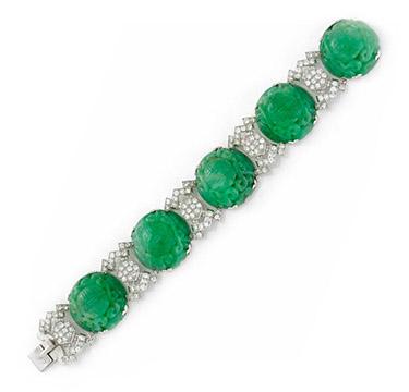 An Art Deco Carved Jade and Diamond Bracelet, by Janesich, circa 1920