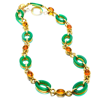 A Chalcedony, Citrine And Gold Sautoir, By Bulgari