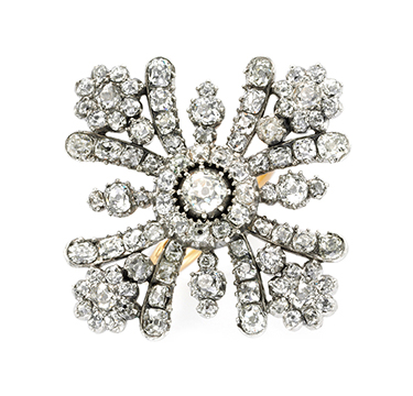 A Diamond and Silver-stopped Gold Maltese Cross Ring