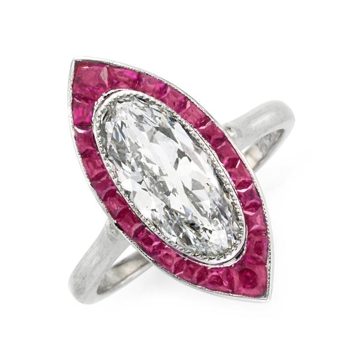 An Art Deco Ruby and Diamond Navette Ring, circa 1920