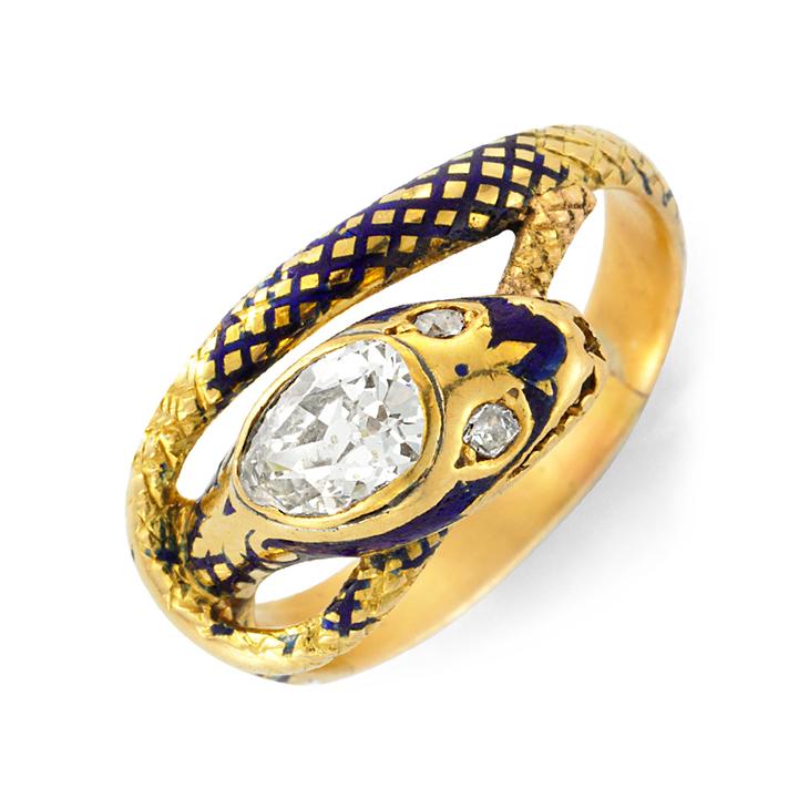 An Antique Diamond and Enamel Serpent Ring, circa 1890