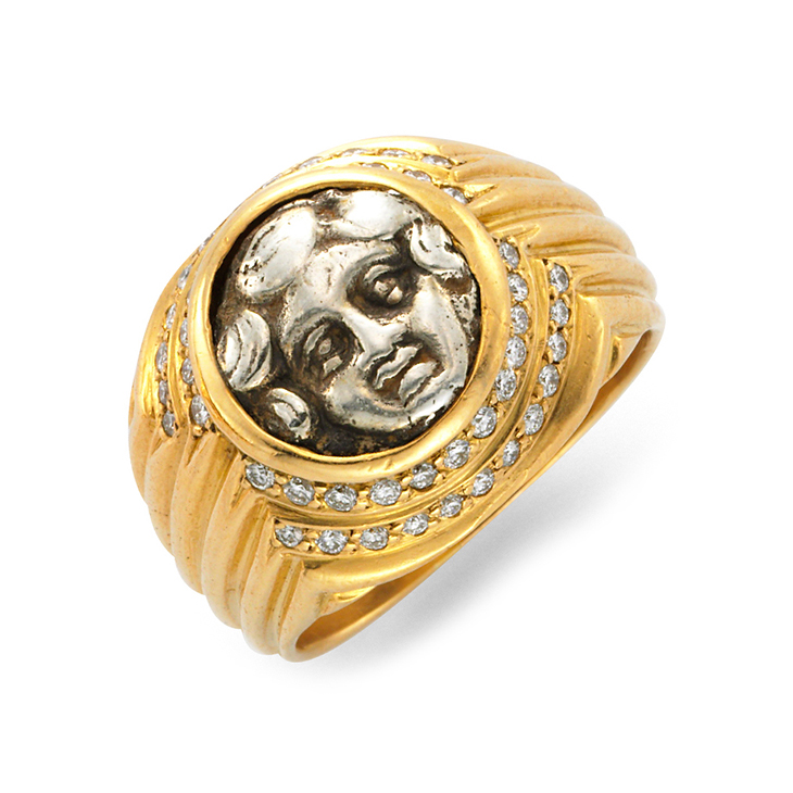 An Ancient Coin and Diamond Ring, by Bulgari, circa 1985