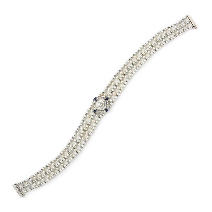 An Edwardian Diamond, Sapphire and Seed Pearl Bracelet, circa 1905