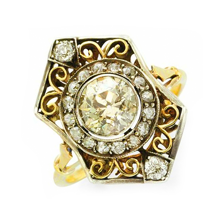 A Russian Antique Diamond and Gold Ring, circa 1900