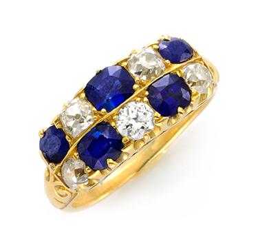 An Antique Sapphire and Diamond Band Ring, circa 1900