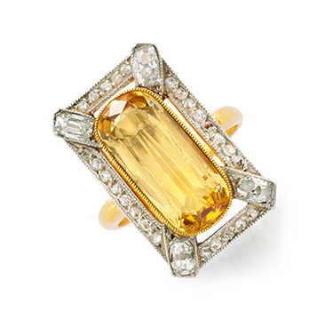 An Imperial Topaz and Diamond Ring, by Bailey Banks & Biddle