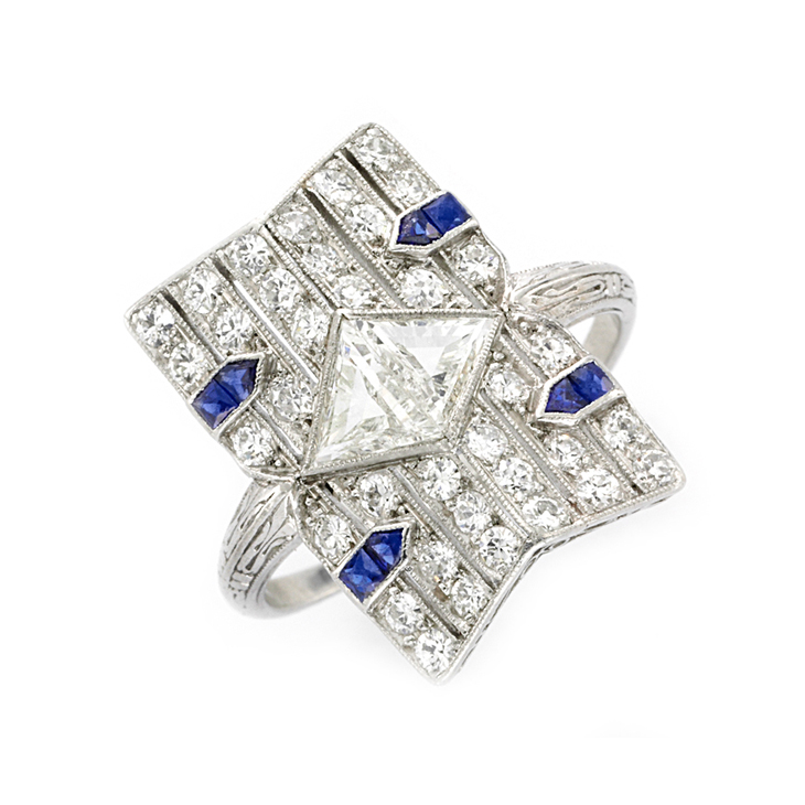 An Art Deco Sapphire and Diamond Ring, circa 1920