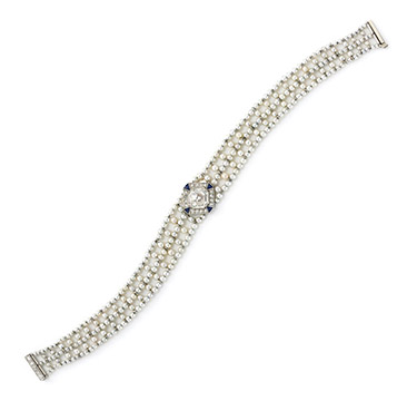 An Edwardian Diamond, Sapphire and Seed Pearl Bracelet, circa 1905