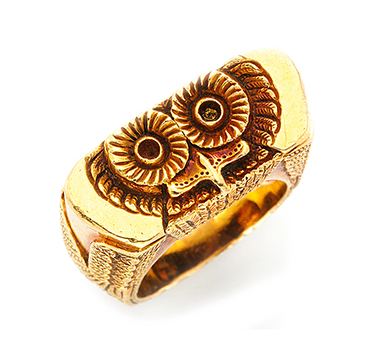 A Sculpted Gold Owl Ring, By Tiffany & Co.