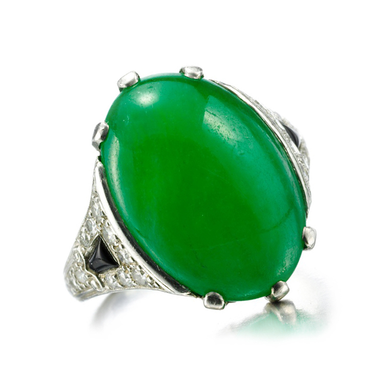 An Art Deco Jade, Onyx and Diamond Ring, circa 1920