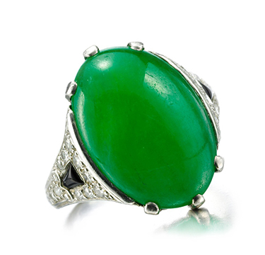 An Art Deco Jade, Onyx and Diamond Ring, circa 1920