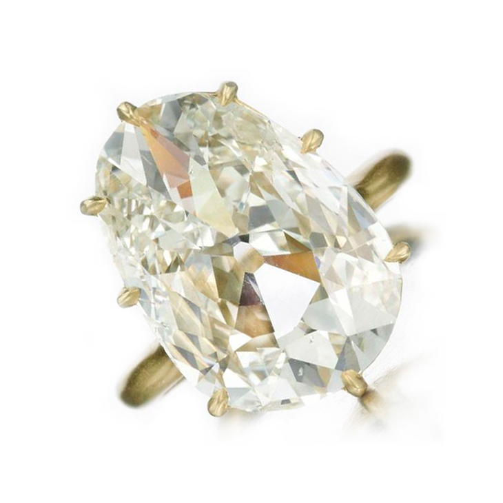 A Gold and Pear-shaped Diamond Ring, of 7.39 carats