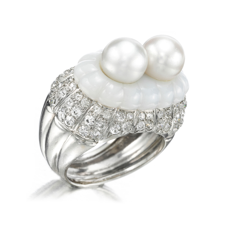 A Natural Pearl, Chalcedony and Diamond Ring, by Suzanne Belperron, circa 1940