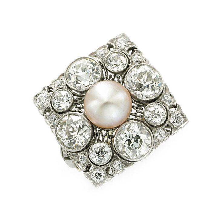 An Art Deco Natural Pearl and Diamond Ring, circa 1915
