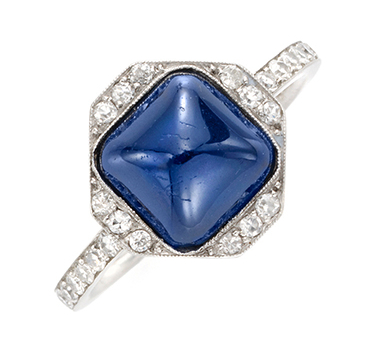 An Art Deco Cabochon Sapphire And Diamond Ring, Circa 1920