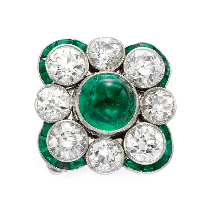 An Art Deco Diamond and Emerald Ring, circa 1925
