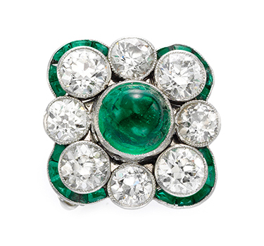 An Art Deco Diamond And Emerald Ring, Circa 1925