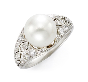 A Natural Pearl And Diamond Ring, By Marcus & Co, Circa 1910