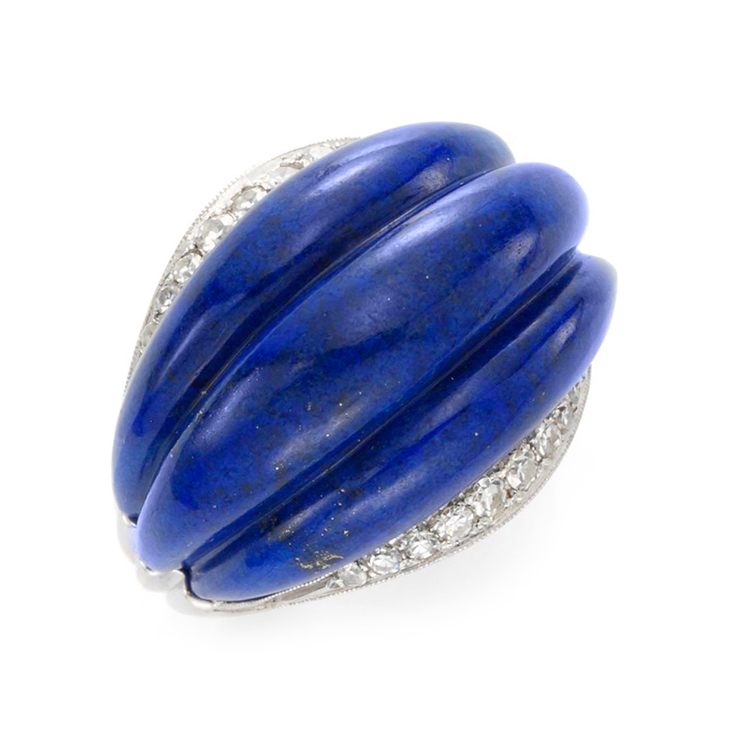 A Lapis and Diamond Ring, circa 1970