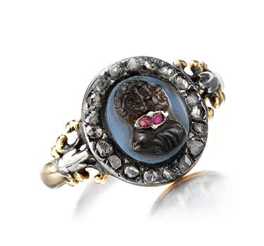 A Georgian Ruby And Diamond Blackamoor Cameo Ring, Circa 1820