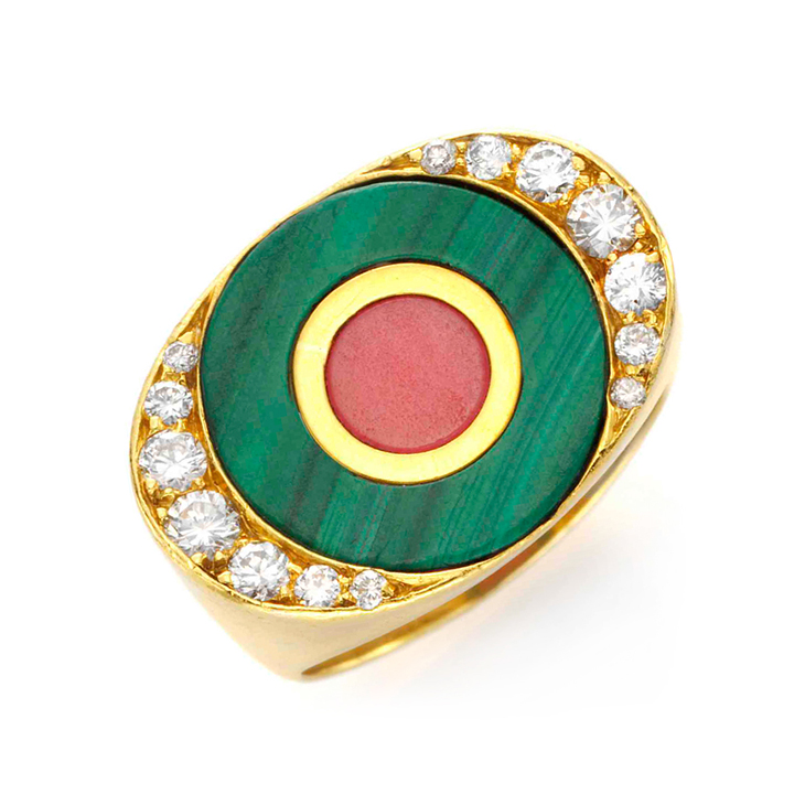 A Malachite, Rhodonite and Diamond Ring, by Bulgari, circa 1960