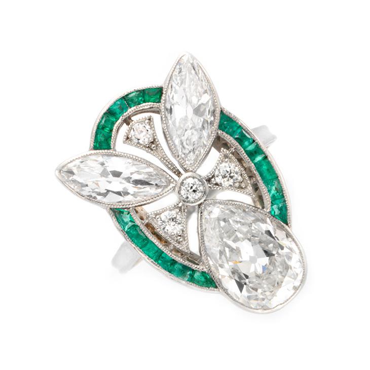 An Art Deco Emerald and Diamond Ring, circa 1925