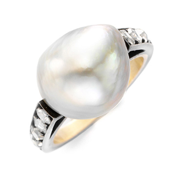 A Natural Pearl and Diamond Ring