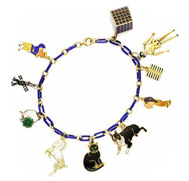 An Art Deco Enamel, Multi-gem and Gold Charm Bracelet, circa 1930