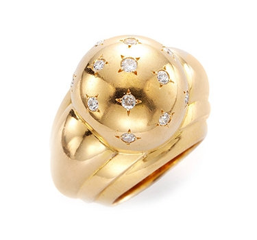 A Retro Gold And Diamond Bombe Ring