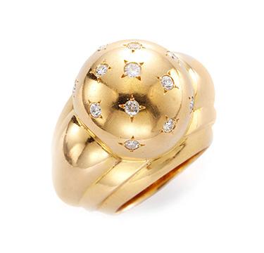 A Retro Gold and Diamond Bombe Ring
