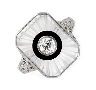 An Art Deco Rock Crystal, Onyx And Diamond Ring