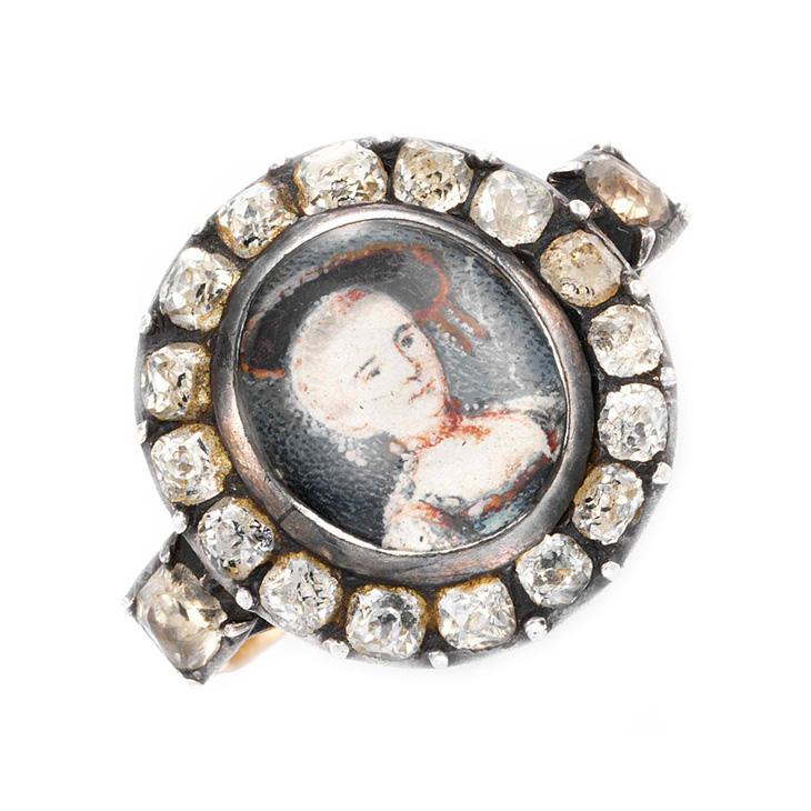 A Georgian Paste Portrait Ring