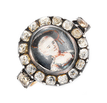 A Georgian Paste Portrait Ring