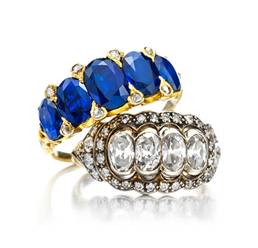 A Pair of Antique Sapphire and Diamond Band Rings