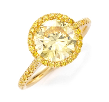 A Fancy Deep Yellow Diamond Ring Of 2.20 Carats